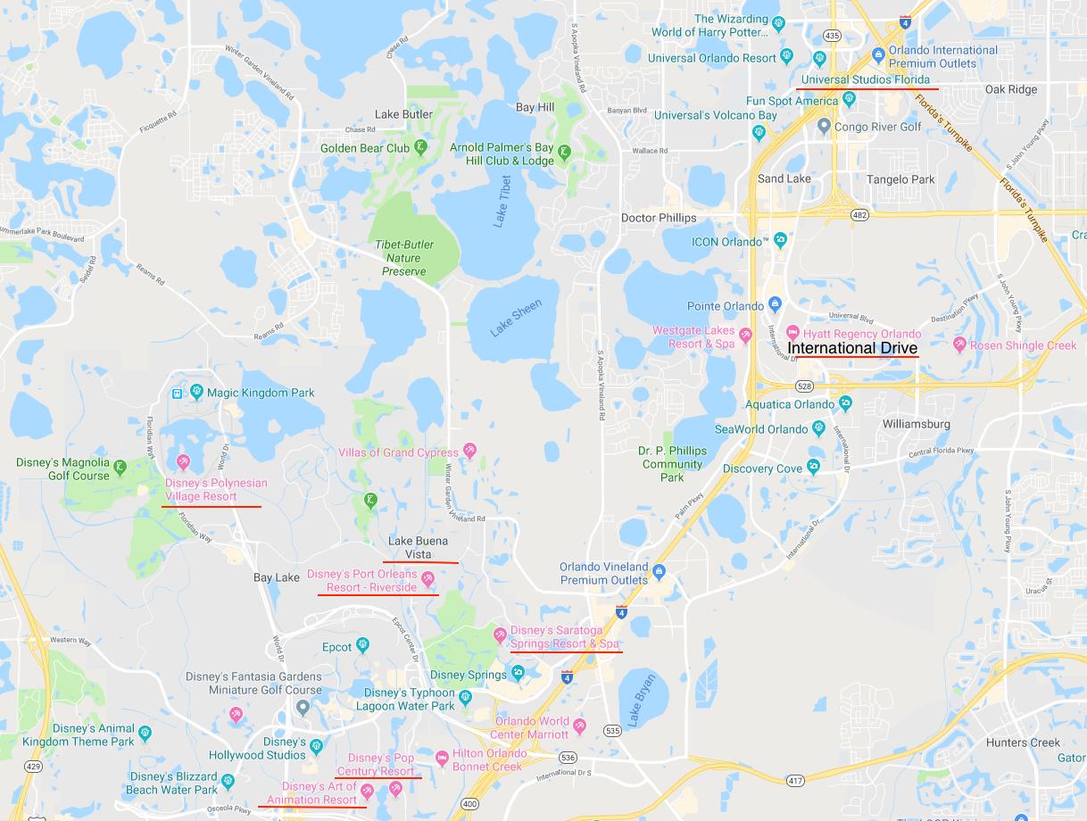 mapa das melhores áreas para se hospedar em orlando