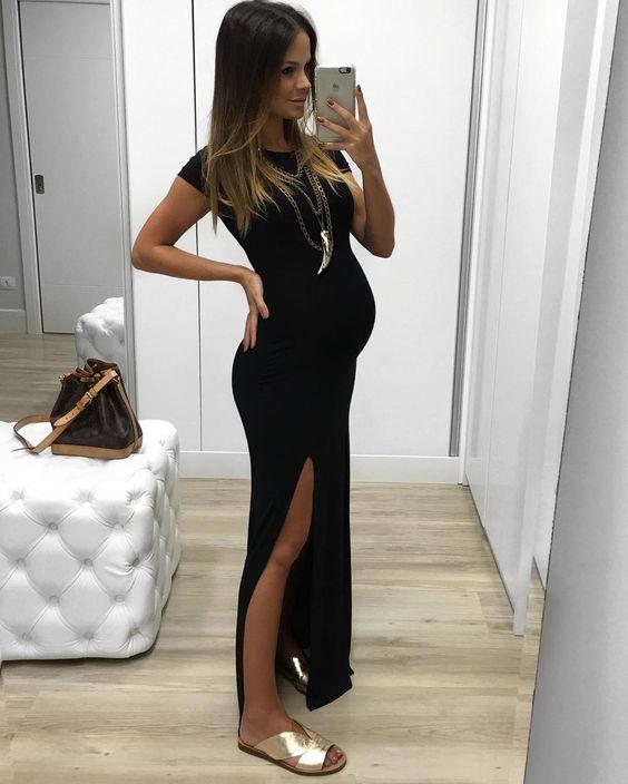 gestante com vestido longo preto